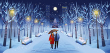 Panorama Road Over The Winter Park With Guy And A Girl With An Umbrella,  Benches, Trees, Lanterns And A Garland. Vector Illustration Of Winter City Street In Cartoon Style.