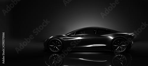 Fotografia Sports car in dark studio environment  concept scene (3D Illustration)