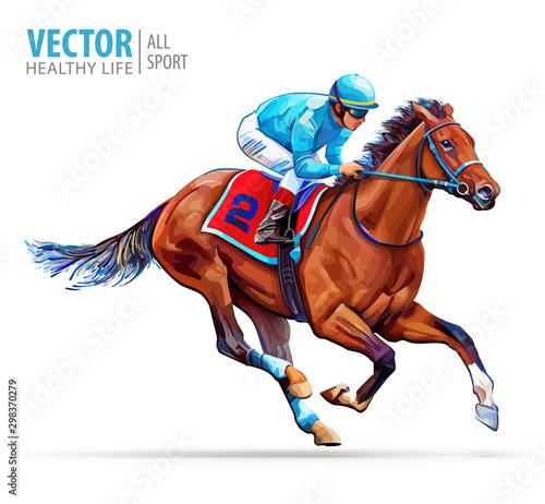 Fotografiet  Jockey on racing horse