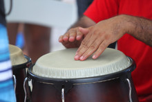 Hands Playing A Latin Drum