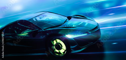 Futuristic high speed sports car in motion with technology lights background (3D Illustration)