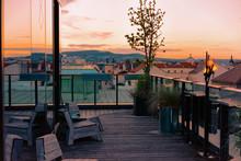 Romantic Evening At Street Cafe Veranda In Vienna
