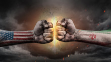 USA Vs Iran. Fists With Flags....