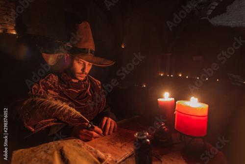 Nostradamus writing his prophesies, fantasy concept Canvas Print