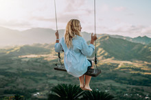 Beautiful View Of Young Woman Swing On The Top Of The Mountan Redonda In Dominican Republic. Concept Travel, Vacation