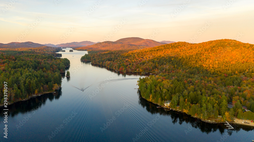 Fototapety, obrazy: Aerial View Over Long Lake Adirondack Park Mountains New York USA