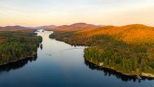 Aerial View Over Long Lake Adi...