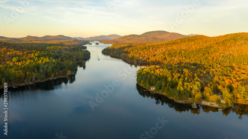 Fotografia, Obraz Aerial View Over Long Lake Adirondack Park Mountains New York USA