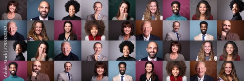 Obraz Group of 9 beautiful people in front of a background - fototapety do salonu