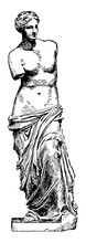 Venus De Milo Is A Famous Ancient Greek Statue, Vintage Engraving.