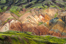 Colorful Slopes Of The  Multi-colored Mountains From Mineral Rhyolite.