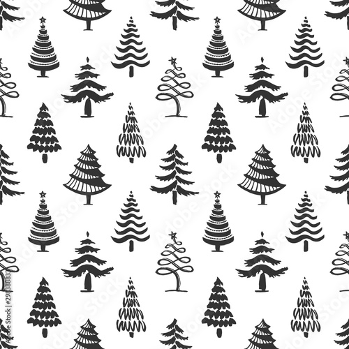 plakat Hand drawn christmas tree seamless pattern isolated on white background. Ink vector illustration of fir tree different shapes. Modern brush calligraphy.