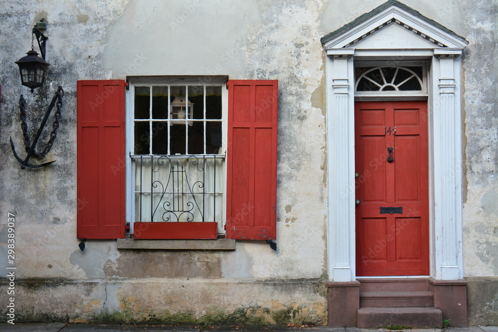 Fototapety, obrazy: Charleston, SC  Window Boxes, Rainbow Row and Doors