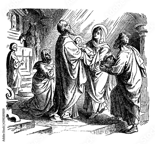 Fotografering The Prophecy of Simeon at the Presentation of Jesus at the Temple vintage illustration