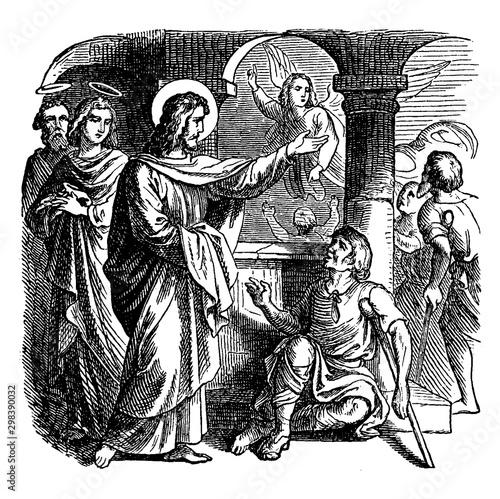 Photo Jesus Heals a Sick Man at the Pool of Bethesda vintage illustration