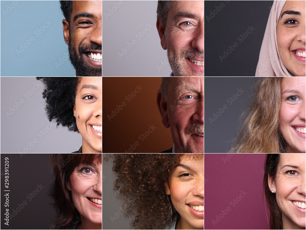 Fototapeta Group of 9 beautiful people in front of a background