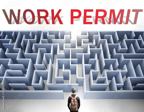 Fotografía  Work permit can be hard to get - pictured as a word Work permit and a maze to sy