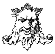 Mad Grotesque Mask Is Part Of A Modern Panel Designed By Sculptor Hauptmann, Vintage Engraving.