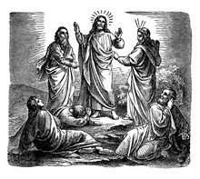 The Transfiguration Of Jesus On A Mountain With Peter, James, And John Vintage Illustration.