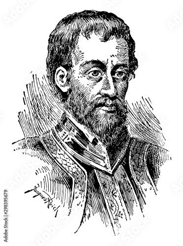 Hernando de Soto, vintage illustration Canvas Print