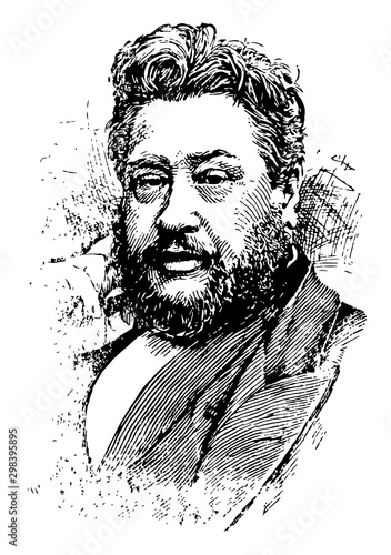 Foto Charles Haddon Spurgeon, vintage illustration