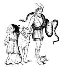 Loki And His Pets Vintage Illu...