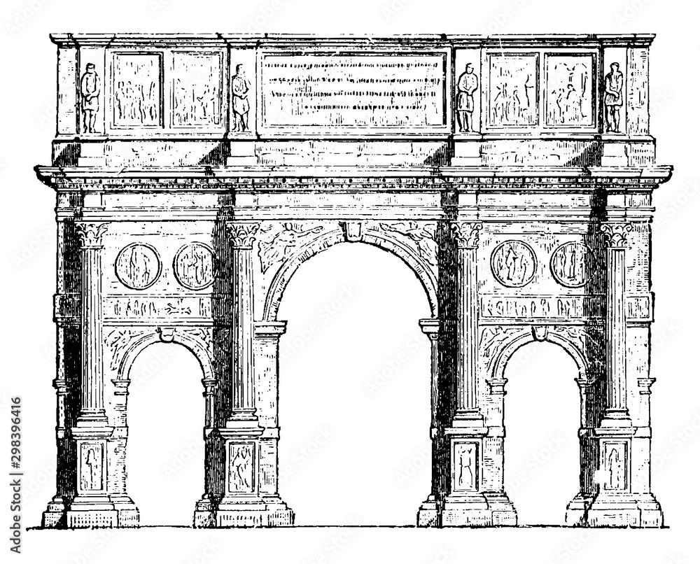 Fototapeta Arch of Constantine, Triumphal arches, vintage engraving.