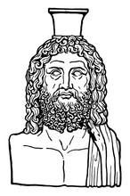 Greek Vase Of Serapis Is An Egyptian God In Antiquity, Vintage Engraving.