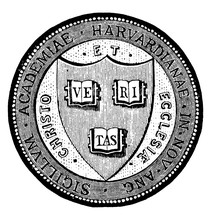 The Seal Of Harvard University In Massachusetts, With Motto VERITAS, Vintage Illustration
