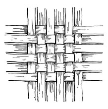 Checker Work Basket Weave, The Simplest Form Of Woven Basketry,  Vintage Engraving.