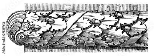 Roman Astragal, Roman Ovolo Molding, vintage engraving. Wallpaper Mural