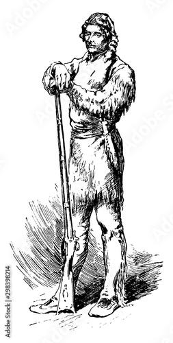 Daniel Boone, vintage illustration Fotomurales