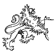 Lion Supporting A Shield Is A Modern Mural Decoration, Vintage Engraving.