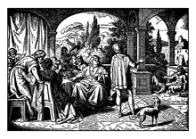 Lazarus, The Beggar, And The Rich Man Vintage Illustration.