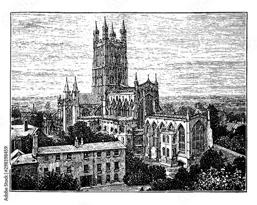 Fotografie, Obraz Gloucester Cathedral Church, style of Gothic architecture, vintage engraving
