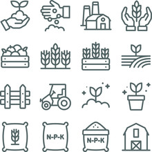 Farming Icons Set Vector Illustration. Contains Such Icon As Agriculture, Planting, Fertilizer, Fence, Barn And More. Expanded Stroke
