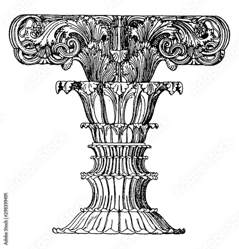 Finial Foliated Shaft, monument,  vintage engraving. Fototapet