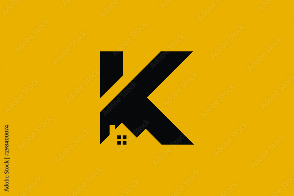 Fototapety, obrazy: Logo design of K in vector for construction, home, real estate, building, property. Minimal awesome trendy professional logo design template on black background.