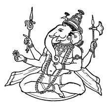 Ganesa, Hindu God Vintage Illustration.