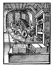 Printing Office, Vintage Illustration.