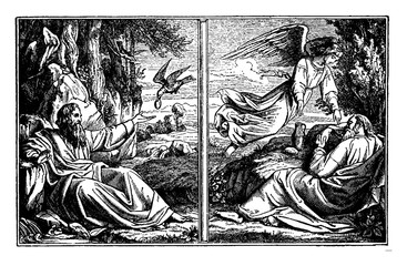 Elijah Hides from Ahab and is Fed by Angels and Ravens vintage illustration.