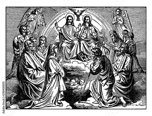 Obraz na płótnie The Apostles, Jesus, God, the Holy Spirit, and the Blessed Virgin Mary in Heaven vintage illustration