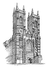 Westminster Abbey Or Gothic Architecture, Vintage Engraving.