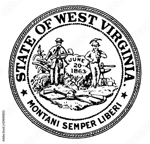 Fototapeta The Seal of the State of West Virginia, vintage illustration