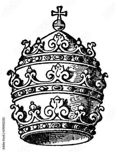 Prominent symbol of the papacy, vintage engraving. Tapéta, Fotótapéta