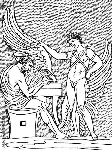 Daedalus vintage illustration. Fototapet