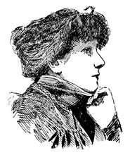 Sarah Bernhardt, Vintage Illustration
