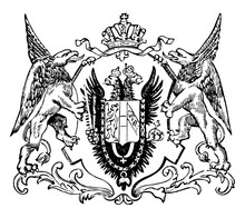 The Great Seal Of The Austro-Hungarian Monarchy, Vintage Engraving.