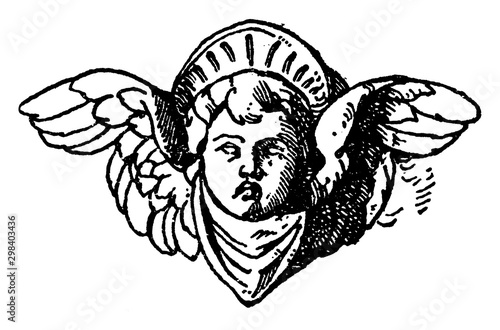 Fotografia Cherub Head was used on a candelabrum in Certosa near Pavia, vintage engraving