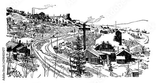 Valokuvatapetti Cripple Creek Mine, vintage illustration.